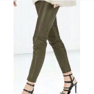 Zara Army Green Leather Moto Legging Zipper Ankle